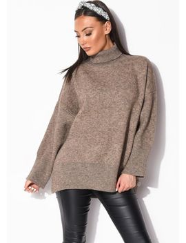 turtle-neck-oversized-chunky-knit-long-sleeve-jumper-brown by lily-lulu-fashion