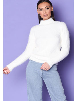 mock-neck-ribbed-detail-fluffy-long-sleeve-knit-jumper-white by lily-lulu-fashion