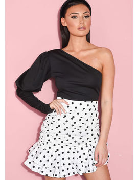 one-shoulder-puff-long-sleeve-crop-top-black by lily-lulu-fashion