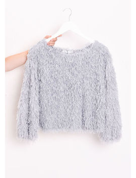 faux-feather-cropped-fluffy-tassel-top-grey by lily-lulu-fashion