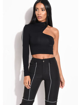 reflective-binding-one-shoulder-long-sleeve-crop-top-black by lily-lulu-fashion