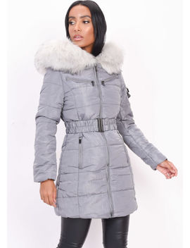 belted--faux-fur-hooded-longline-puffer-coat-grey by lily-lulu-fashion