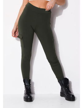 utility-stretch-pocket-detail-leggings-khaki-green by lily-lulu-fashion