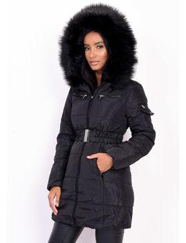 belted-faux-fur-hooded-longline-puffer-coat-black by lily-lulu-fashion