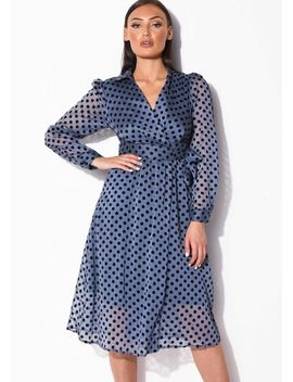 velour-polka-dot-organza-wrap-over-midi-shirt-dress-blue by lily-lulu-fashion