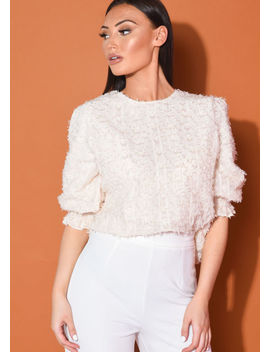 frill-puff-sleeve-oversized-tinsel-crop-blouse-top-beige by lily-lulu-fashion