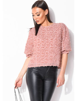 frill-puff-sleeve-oversized-tinsel-crop-blouse-top-pink by lily-lulu-fashion