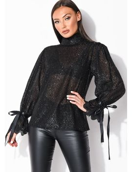 sheer-frill-high-neck-puff-sleeve-tinsel-blouse-top-black by lily-lulu-fashion