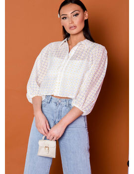 daisy-print-puff-sleeve-blouse-crop-top-white by lily-lulu-fashion
