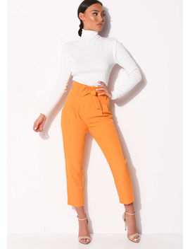 high-waisted-belted-paperbag-trousers-orange by lily-lulu-fashion