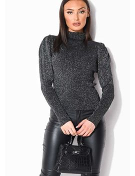 metallic-ribbed-knit-high-neck-jumper-top-black by lily-lulu-fashion