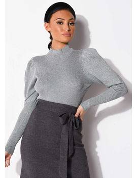 puff-sleeve-metallic-ribbed-knit-high-neck-jumper-top-silver-grey by lily-lulu-fashion