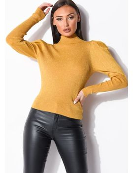 puff-sleeve-metallic-ribbed-knit-high-neck-jumper-top-yellow by lily-lulu-fashion