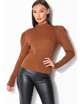puff-sleeve-metallic-ribbed-knit-high-neck-jumper-top-brown by lily-lulu-fashion