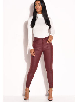 pu-faux-leather-high-waisted-stretch-skinny-jeans-burgundy-red by lily-lulu-fashion