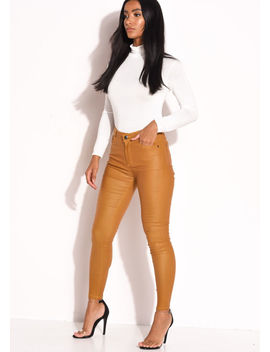 pu-faux-leather-high-waisted-stretch-skinny-jeans-mustard-yellow by lily-lulu-fashion