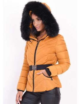quilted-faux-fur-hooded-padded-belted-puffer-coat-mustard-yellow by lily-lulu-fashion
