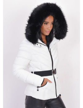quilted-faux-fur-hooded-padded-belted-puffer-coat-white by lily-lulu-fashion