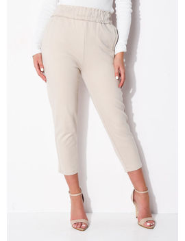 high-waisted-pocket-detail-tapered-leg-trousers-beige by lily-lulu-fashion
