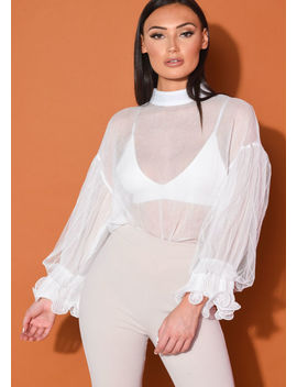 high-neck-tulle-frill-sleeve-sheer-shirt-white by lily-lulu-fashion