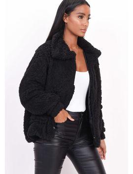 faux-fur-oversized-zip-up-teddy-jacket-black by lily-lulu-fashion