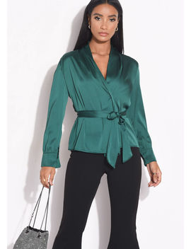 wrap-over-satin-belted-long-sleeve-shirt-green by lily-lulu-fashion