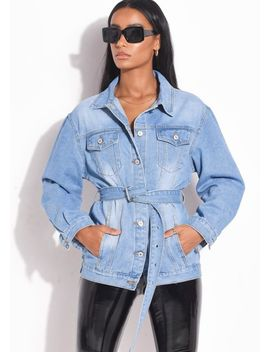 belted-mid-wash-denim-jacket-blue by lily-lulu-fashion