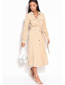 tie-waist-longline-midi-shirt-utilty-dress-beige by lily-lulu-fashion