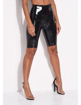 high-waisted-vinyl-cycling-shorts-black by lily-lulu-fashion