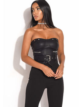 faux-leather-pu-belted-corset-crop-top-black by lily-lulu-fashion