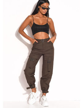 utility-cargo-pocket-fitted-jogger-trousers-brown by lily-lulu-fashion