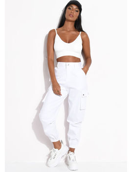 utility-relax-fit-cargo-jogger-trousers-white by lily-lulu-fashion
