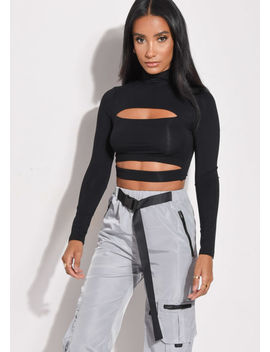 high-neck-cut-out-crop-top-black by lily-lulu-fashion