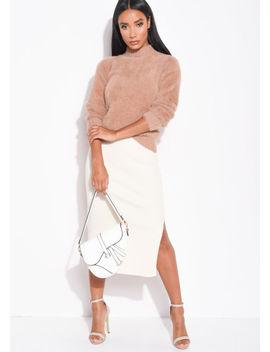 ribbed-knit-button-side-split-detail-midi-skirt-cream by lily-lulu-fashion