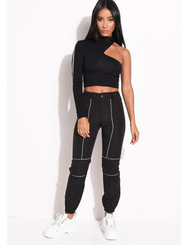 utility-reflective-binding-high-waisted-jogger-trousers-black by lily-lulu-fashion
