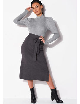 tie-waist-knit-split-side-midi-skirt-charcoal-grey by lily-lulu-fashion