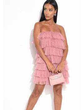 layered-frill-tulle-halterneck-mini-dress-pink by lily-lulu-fashion