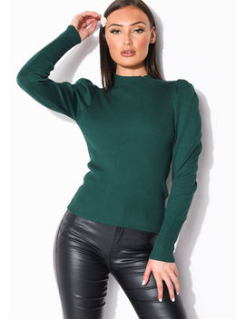 puff-sleeve-ribbed-knit-high-neck-jumper-top-green by lily-lulu-fashion