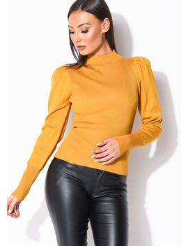puff-sleeve-ribbed-knit-high-neck-jumper-top-mustard-yellow by lily-lulu-fashion