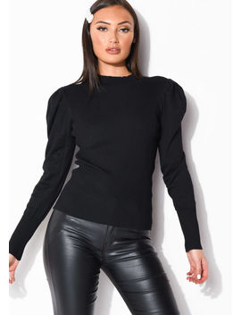 puff-sleeve-ribbed-knit-high-neck-jumper-top-black by lily-lulu-fashion