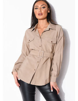 belted-utility-long-sleeve-shirt-top-beige by lily-lulu-fashion