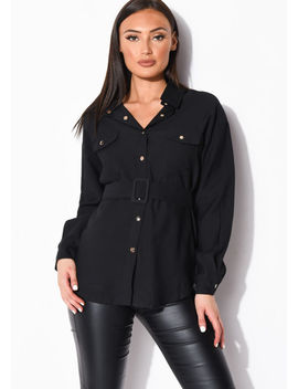 belted-utility-long-sleeve-shirt-top-black by lily-lulu-fashion