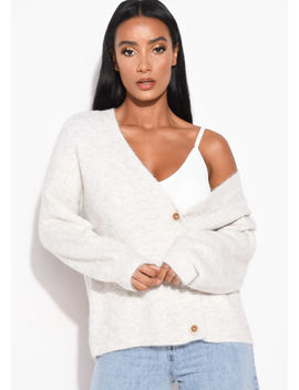 knitted-button-front-relaxed-fit-cardigan-cream by lily-lulu-fashion