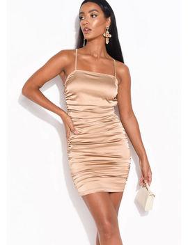 faux-satin-slinky-ruched-mini-dress-mocha-brown by lily-lulu-fashion