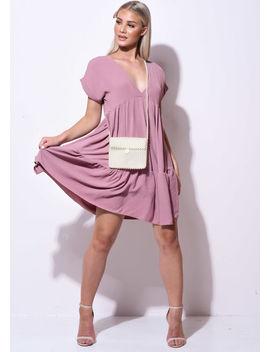 frill-tiered-mini-shirt-dress-pink by lily-lulu-fashion