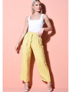 tie-waist-wide-leg-trousers-yellow by lily-lulu-fashion