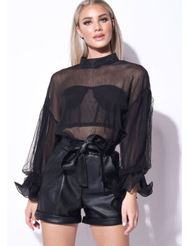 high-neck-tulle-frill-sleeve-sheer-shirt-black by lily-lulu-fashion