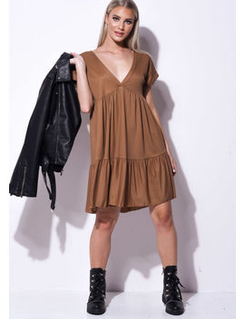 frill-tiered-mini-shirt-dress-brown by lily-lulu-fashion