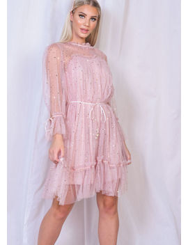 frill-star-sequin-tulle-shift-dress-pink by lily-lulu-fashion