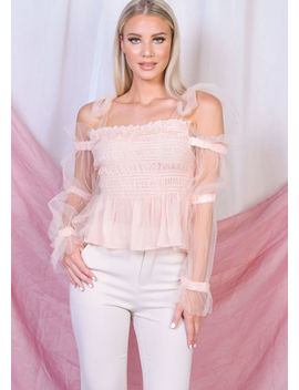 tulle-tie-strap-off-shoulder-shirred-crop-top-pink by lily-lulu-fashion